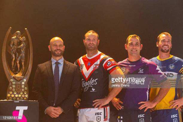 Chief Executive Todd Greenberg is seen at a captains team photo with Boyd Cordner of the Sydney Roosters, Cameron Smith of the Melbourne Storm and...