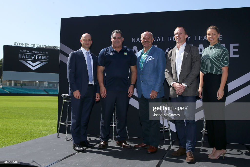 NRL Chief Executive Todd Greenberg, Mal Meninga, Wally Lewis, Darren Lockyer and Yvonne Sampson pose for the media during the Rugby League Hall of Fame and Immortals Announcement at Sydney Cricket Ground on March 19, 2018 in Sydney, Australia.