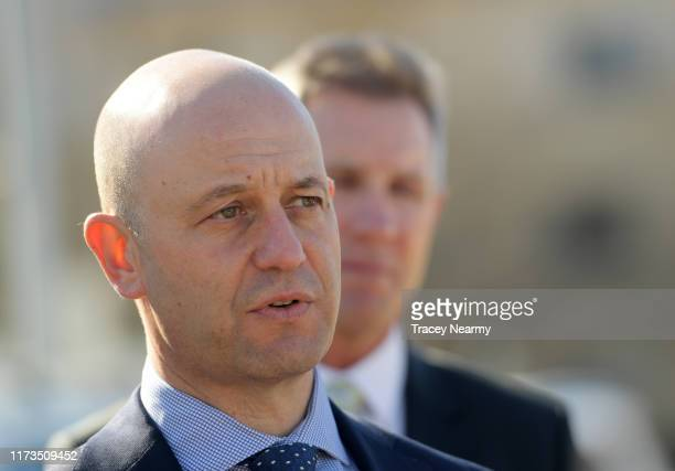 Chief Executive Todd Greenberg speaks to media with Canberra Raiders Chief Executive Don Furner during the Canberra Raiders Centre of Excellence Tour...