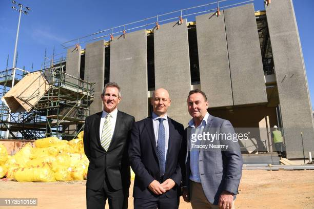 Chief Executive Todd Greenberg with Canberra Raiders Chief Executive Don Furner and Raiders Coach Ricky Stuart during the Canberra Raiders Centre of...