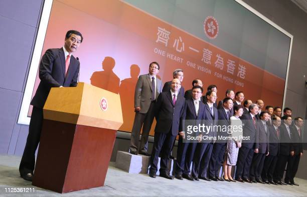 Chief Executiveelect Leung Chunying with New team of Principal Officials appointed Secretary for Constitutional and Mainland Affairs Raymond Tam...