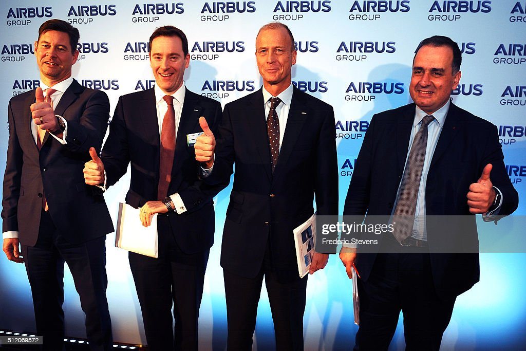 Chief Financial Officer of the Airbus Group, Harald Wilhelm, President of Airbus Group UK, Paul Kahn, Chief Executive of Airbus Group, Tom Enders, Chief Strategy and Marketing Officer of Airbus Group, Marwan Lahoud pose for a group photo ahead of a press conference to announce the company's annual results on February 24, 2016 in London, United Kingdom. Airbus Group announced its net profits climbed 15 percent last year and predicted deliveries of more than 650 aircraft in 2016.