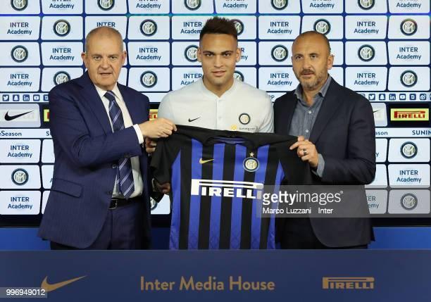 Chief Football Administrator of FC Internazionale Milano Giovanni Gardini FC Internazionale new signing Lautaro Martinez and Sportif Director of FC...