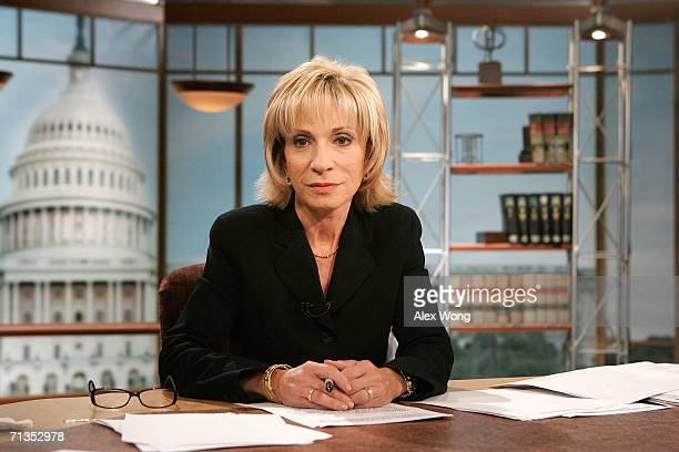 Chief Foreign Affairs Correspondent Andrea Mitchell rehearses for 'Meet the Press' at the NBC studios July 2 2006 in Washington DC Mitchell was...