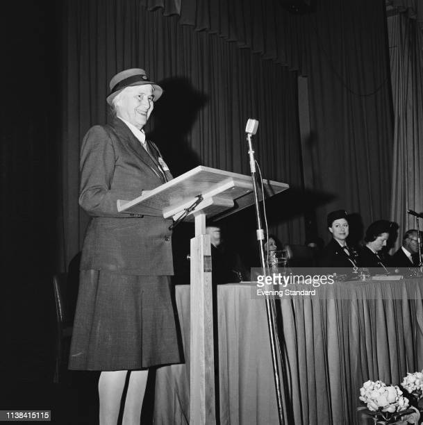 Chief Guide for Britain Olave BadenPowell talking at an event in the presence of Princess Margaret Countess of Snowdon UK 19th June 1969