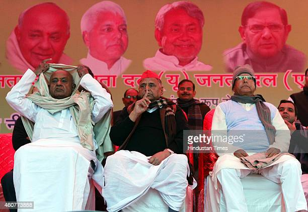Chief HD Deve Gowda, SP Chief Mulayam Singh and RJD President Lalu Prasad Yadav during the protest by Janta Parivar against Modi Government at Jantar...