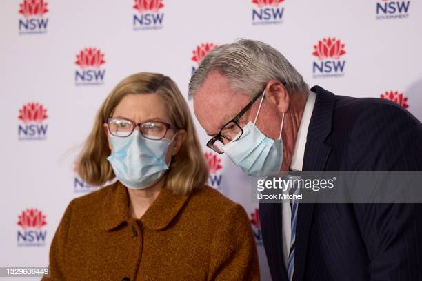 Chief Health Officer Kerry Chant speaks to New South Wales Health Minister Brad Hazzard at a COVID-19 update on July 20, 2021 in Sydney, Australia....