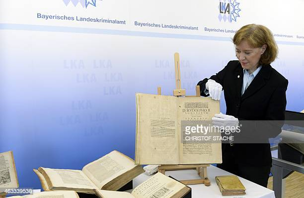 Chief inspector Elisabeth ZumBruch presents the historical book Astronomia nova aitiologetos from Johannes Kepler from the year 1609 during a press...
