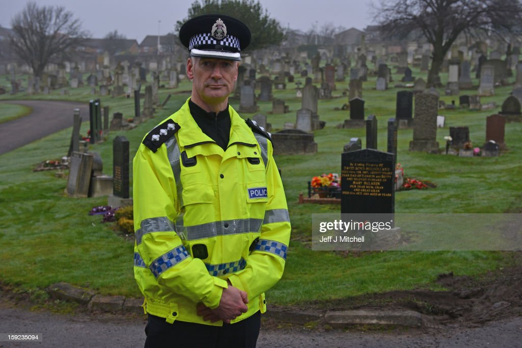 Chief Inspector Kenny MacLeod looks on following the confirmation that a grave at Old Monkton cemetery does not contain the body of missing schoolgirl Mora Anderson on January 10, 2013 in Coatbridge, Scotland. Forensic specialists have spent the past three days exhuming the family burial plot of Sinclair Upton, an acquaintance of Alexander Gartshore, a former bus driver and convicted rapist linked to the disappearance of Moira. The 11-year-old school girl went missing in 1957.