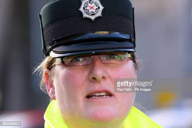Chief Inspector Pauline Shields speaks to the media at Lurgan Police Station in Lurgan County Armagh