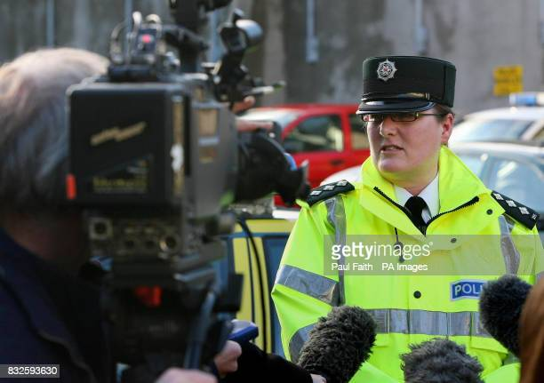 Chief Inspector Pauline Shields speaks to the media outside Lurgan Police Station in Lurgan County Armagh