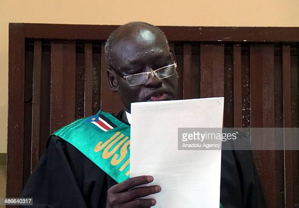 Chief Judge James Alala Deng is seen on the photo in the court of 4 senior officials in Cuba South Sudan on April 25 2014 Former head of mission at...
