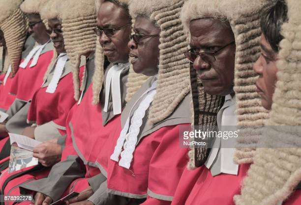 Chief judges of the Supreme Court during a ceremony to Emmerson Mnangagwa in Harare on November 24 2017 Emmerson Mnangagwa was sworn in as Zimbabwe's...