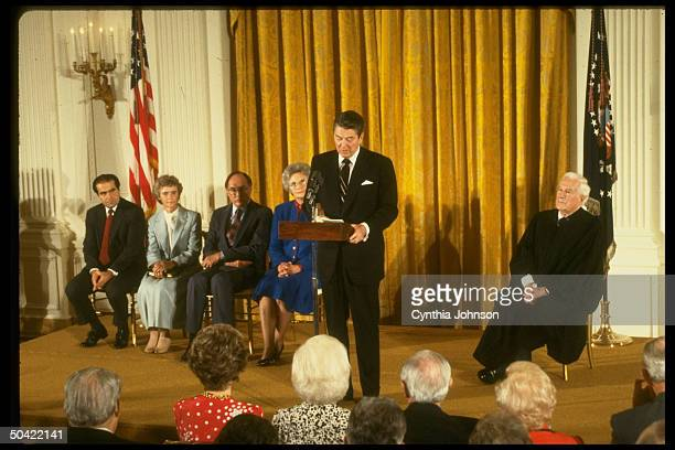 Chief Justice Burger Pres Reagan Mrs Rehnquist Mrs Justice Scalia during Supreme Court swearin ceremony
