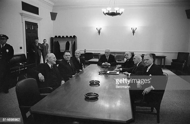 Chief Justice Earl Warren and other Washington luminaries at a table The Warren Commission was appointed by President Johnson to investigate the...