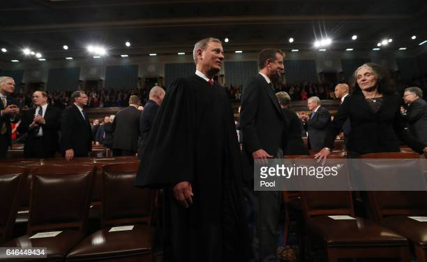 Chief Justice John Roberts arrives for U.S. President Donald Trump's first address to a joint session of the U.S. Congress on February 28, 2017 in...