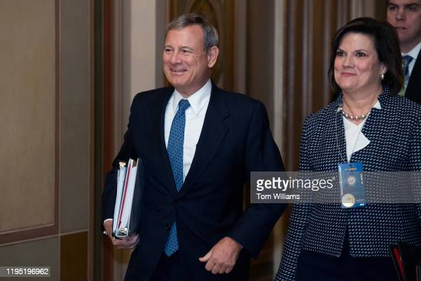 Chief Justice John Roberts arrives to the Capitol for the impeachment trial of President Donald Trump on Tuesday, January 21, 2020.