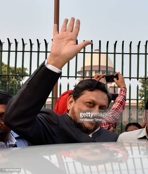 Chief Justice of India designate Sharad Arvind Bobde gestures after attending the farewell function of outgoing CJI Ranjan Gogoi, at Supreme Court...