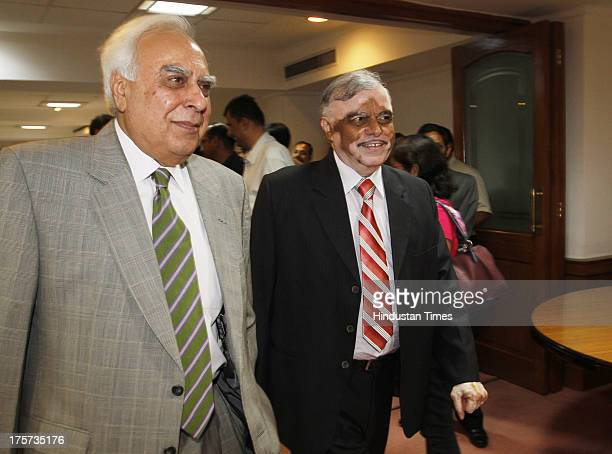 Chief Justice of India P Sathasivam along with Law minister Kapil Sibal during inauguration of National Judicial Data Grid at Supreme Court on August...