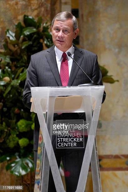 Chief Justice of the United States John G. Roberts, Jr. Speaks onstage during A Conversation With Chief Justice Of The United States John G. Roberts,...