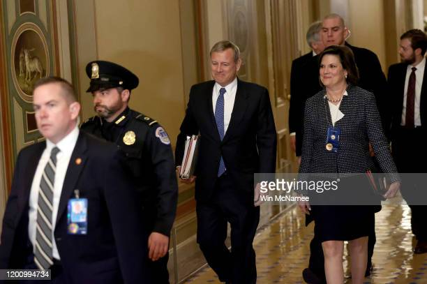 Chief Justice of the U.S. Supreme Court John Roberts arrives at the U.S. Capitol January 21, 2020 in Washington, DC. Roberts will preside over the...