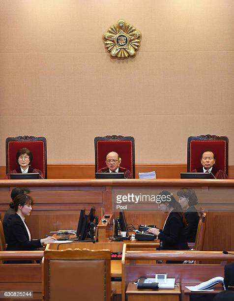 Chief Justice Park HanChul presides over the first hearing arguments for South Korean President Park Geunhye's impeachment trial at the...