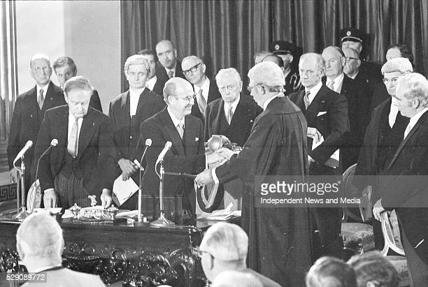 Chief Justice shakes hands with President Cearbhall �� D��laigh following the swearingin during the Inauguration ceremony at Dublin Castle on left is...