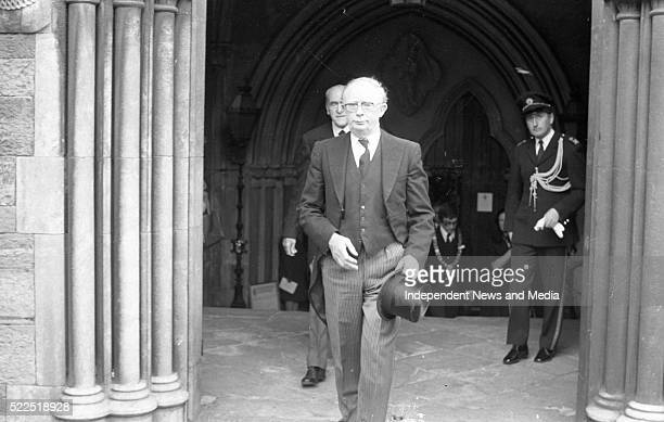 Chief Justice Tom O'Higgins and Frank AikenTD at the Funeral Service held in St Patrick's Cathedral for British Ambassador Christopher EwartBiggs who...