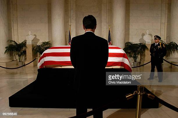 Chief Justice William Rehnquist's casket liesinstate in the Supreme Court's Great Hall on the Lincoln Catafalque the structure on which President...