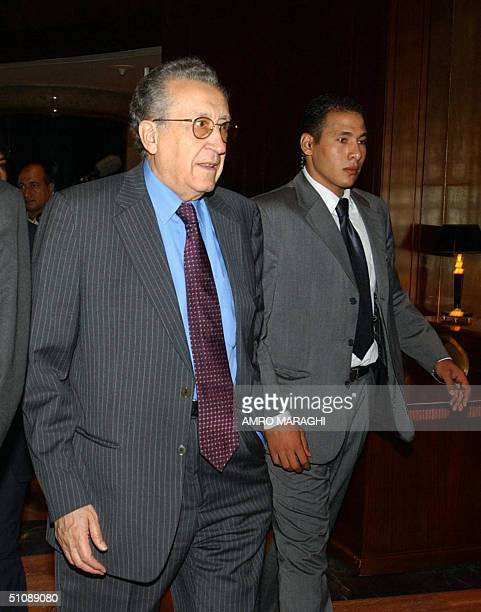 UN chief Kofi Annan's special representative for Iraq Lakhdar Brahimi arrives at the sixth conference of foreign affairs ministers of the group of...