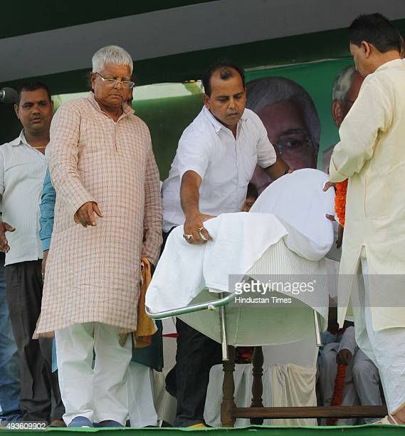 Chief Lalu Prasad Yadav during an election rally amid Bihar Assembly Elections at Phulwari Sharif near Patna on October 21 2015 in Patna India Lalu...