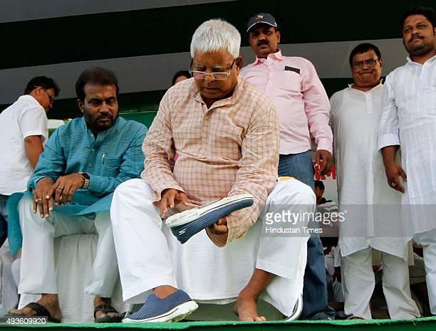 Chief Lalu Prasad Yadav during an election rally amid Bihar Assembly Elections at Phulwari Sharif near Patna on October 21 2015 in Patna India Lalu...