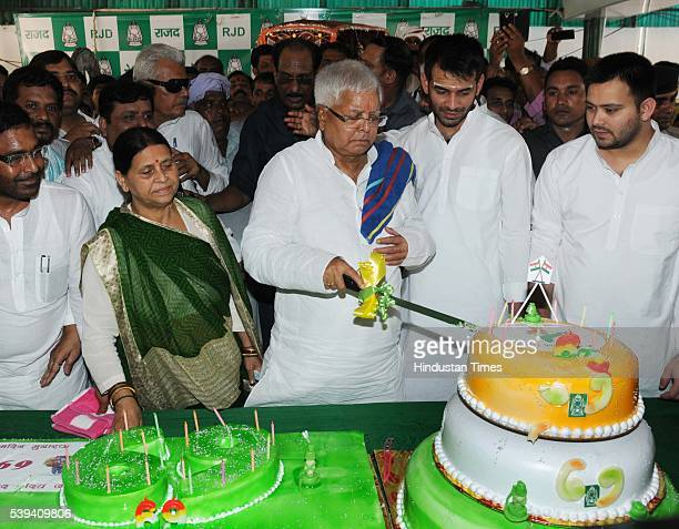 Chief Lalu Prasad Yadav Lalu Yadav celebrated his 69th birthday with his wife Rabri Devi and two sons Tejaswi Yadav and Tej Pratap Yadav on June 11...