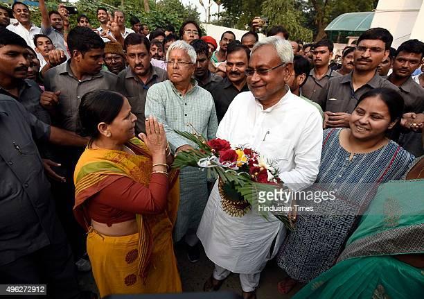Chief Lalu Prasad Yadav Rabri Devi and Nitish Kumar after the results of the Bihar assembly elections on November 8 2015 in Patna India Nitish Kumar...