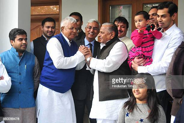 RJD chief Lalu Prasad Yadav visited SP chief Mulayam Singh Yadav's residence to perform the shagun ceremony ahead of his daughter Raj Lakshmi's...