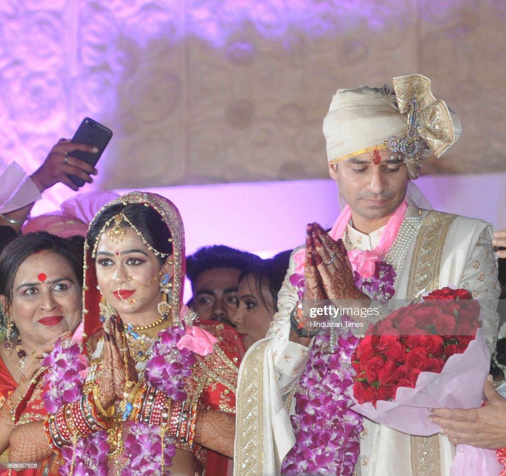 RJD chief Lalu Prasad`s elder son Tej Pratap Yadav and Aishwarya Rai during their wedding ceremony at Veterinary College Ground on May 12 2018 in...