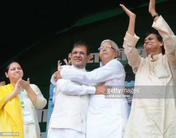 Chief Lalu Yadav with Sharad Yadav at mega rally 'BJP Bhagao Desh Bachao' organised by Rashtriya Janata Dal at Gandhi Maidan on August 27 2017 in...