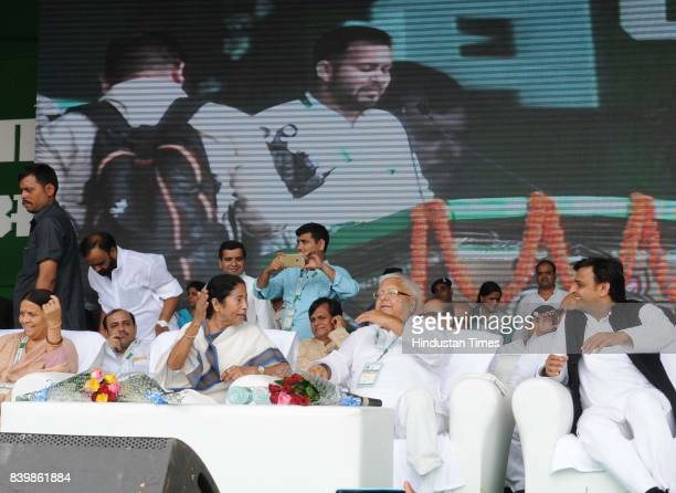 Chief Lalu Yadav with West Bangal Chief Minister Mamata Banerjee SP Chief Akhilesh Yadav and other leaders at mega rally 'BJP Bhagao Desh Bachao'...