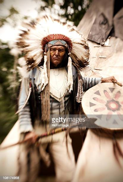 chief long horn - headdress stock pictures, royalty-free photos & images