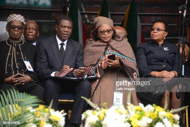 Chief Mangosuthu ButheleziANC TreasurerGeneral Paul Mashatile Nomvula Mokonyane and Former first lady Graca Machel during the official memorial...