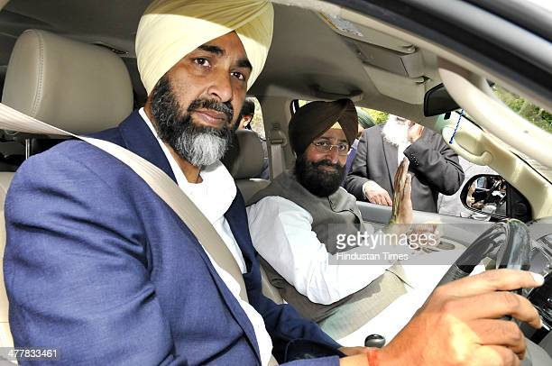 PPP Chief Manpreet Badal on driving seat with PPCC president Pratap Singh Bajwa after addressing joint press conference at Chandigarh Press Club...