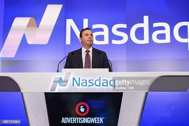 Chief Marketing Officer at Nasdaq Jeremy Skule speak onstage at the NASDAQ Closing Bell during Advertising Week 2015 AWXII at Nasdaq MarketSite on...
