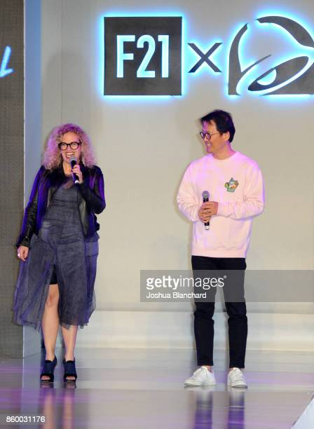 Chief Marketing Officer at Taco Bell Corp Marisa Thalberg and Forever 21 CEO Do Won Chang attend a celebration of the Forever 21 x Taco Bell...