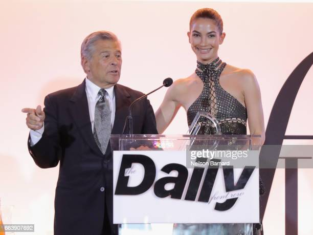 Chief Marketing Officer of Creative Services of Limited Brands Edward Razek and model Lily Aldridge speak onstage during the Daily Front Row's 3rd...