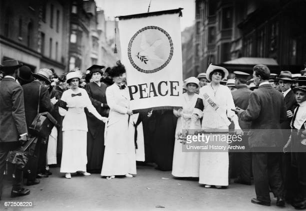 Chief Marshall Portia Willis and other Participants of Women's Peace Parade shortly after Start of World War I Fifth Avenue New York City New York...