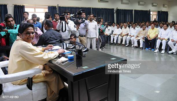 Chief Mayawati addresses a review meeting at party office on November 10 2016 in Lucknow India With the work of constituting organizational...
