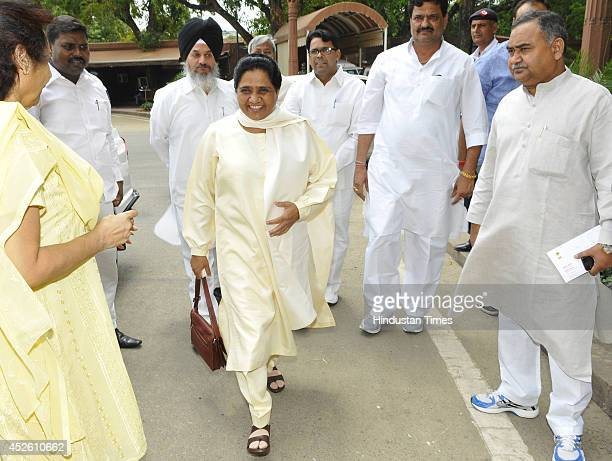 BSP chief Mayawati at Parliament during budget session on July 24 2014 in New Delhi India The Lok Sabha has discussed and passed the 201415 demands...
