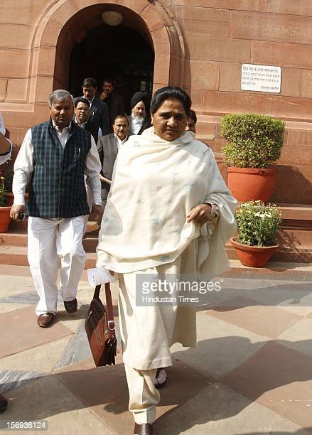 BSP chief Mayawati at Parliament House during the winter session on November 23 2012 in New Delhi India