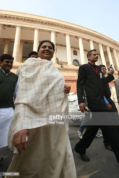 Chief Mayawati at the parliament on the opening day of the winter session in New Delhi on November 22 2012