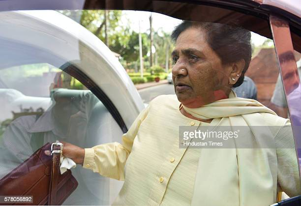Chief Mayawati leaves Parliament after the Rajya Sabha adjourned for a day during the Monsoon Session on July 20 2016 in New Delhi India The assault...